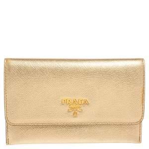 Prada Gold Saffiano Leather Flap Slim Wallet