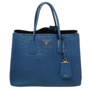 Prada Blue Ostrich Leather Medium Double Handle Tote