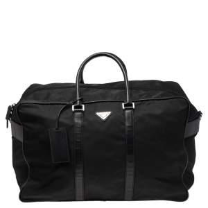 Prada Black Nylon and Leather Logo Duffel Bag