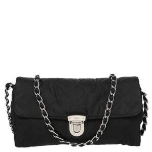Prada Black Quilted Nylon Pushlock Shoulder Bag