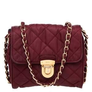 Prada Burgundy Quilted Nylon Pushlock Crossbody Bag