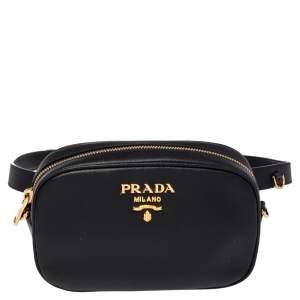 Prada Black Saffiano Lux Leather Belt Bag