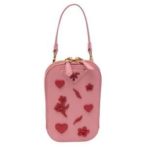 Prada Pink Saffiano Lux Leather Embellished Phone Crossbody Bag