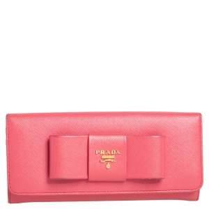 Prada Coral Orange Saffiano Leather Bow Continental Wallet