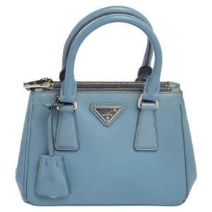Prada Light Blue Saffiano Leather Mini Galleria Double Zip Tote