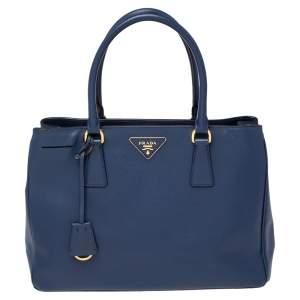 Prada Blue Saffiano Lux Leather Small Middle Zip Tote