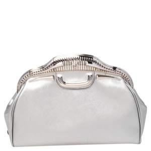 Prada Silver Saffiano Leather 50s Car Clutch