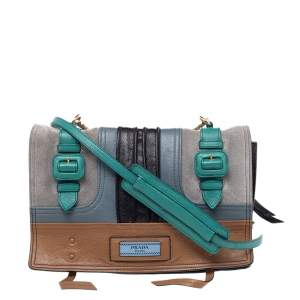 Prada Multicolor Suede and Leather  Etiquette Flap Shoulder Bag