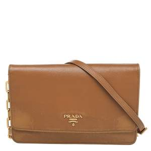 Prada Brown Saffiano Leather Flap Shoulder Bag