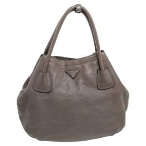Prada Grey Vitello Daino Leather Tote