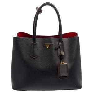 حقيبة يد توتس برادا جلد سافيانو كور أسود متوسطة بيدين