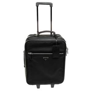 Prada Black Nylon and Saffiano Lux Leather Trolley Rolling Luggage