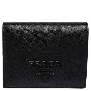 Prada Black Saffiano Leather Compact Wallet