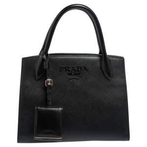 Prada Black Saffiano Cuir Leather Small Monochrome Tote