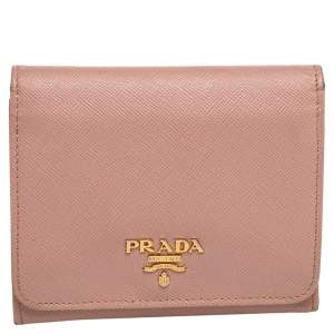 Prada Beige Saffiano Leather Trifold Compact Wallet