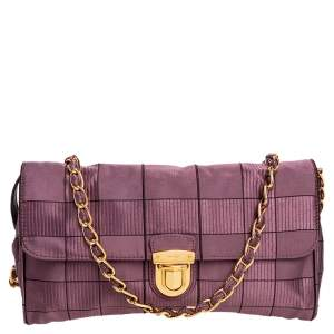 Prada Purple Jacquard And Fabric Windowpane Shoulder Bag