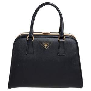 Prada Black Saffiano Lux Leather Pyramid Frame Satchel