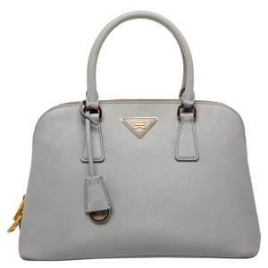 Prada Grey Saffiano Lux Leather Small Promenade Satchel