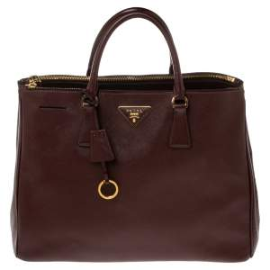 Prada Maroon Saffiano Lux Leather Large Double Zip Tote