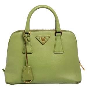 حقيبة يد توتس برادا غاليريا جلد سافيانو أخضر بسحاب
