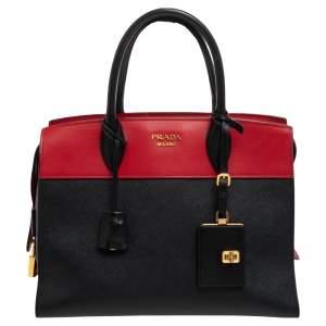 Prada Black/Red Saffiano Lux And City Leather Large Esplanade Satchel