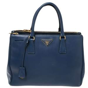 Prada Navy Blue Saffiano Lux Leather Medium Double Zip Tote