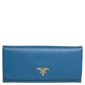 Prada Blue Saffiano Leather Flap Continental Wallet