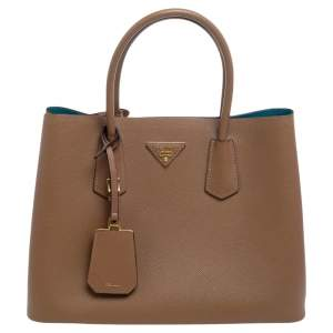 Prada Brown Saffiano Cuir Leather Medium Double Tote