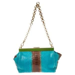 Prada Blue/Brown Ombre Python Frame Chain Baguette Bag