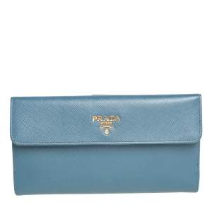 Prada Teal Blue Saffiano Lux Leather Logo Flap Long Wallet