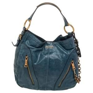 Prada Blue Leather Hobo