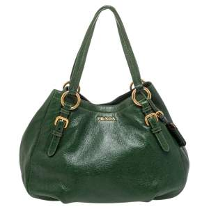 Prada Green Cervo Leather Double Zip Shoulder Bag