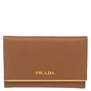 Prada Brown Saffiano Lux Leather Flap Card Holder