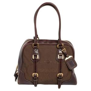 Prada Brown Leather And Canvas Satchel