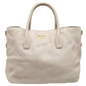 Prada White Vitello Daino Leather Shopper Tote