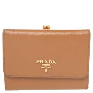 Prada Brown Saffiano Leather Trifold Wallet