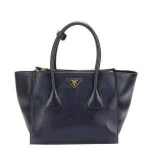 Prada Black Calf Leather Glace Tote Bag