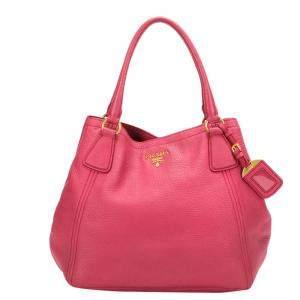 Prada Pink Leather Vitello Daino Hobo Bag