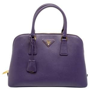 Prada Purple Saffiano Leather Medium Promenade Satchel
