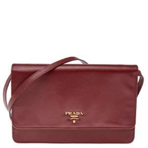 Prada Red Saffiano Leather Flap Crossbody Bag