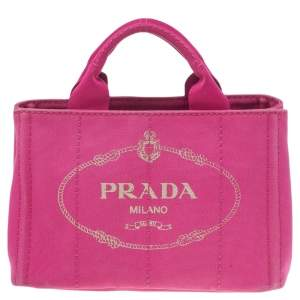 Prada Pink Canvas Small Canapa Logo Tote