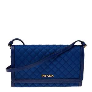 Prada Blue Quilted Tessuto and Leather Continental Strap Wallet