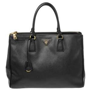 Prada Black Saffiano Lux Leather Medium Galleria Double Zip Tote