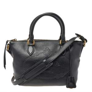 Prada Black Leather Borsa Mano Shoulder Bag