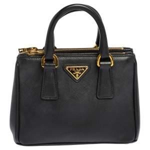 Prada Black Saffiano Lux Leather Mini Double Zip Tote