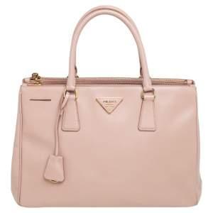 Prada Dusty Pink Saffiano Lux Leather Medium Galleria Double Zip Tote