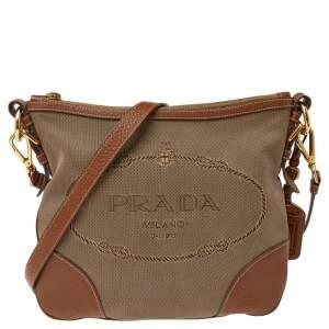 Prada Brown Canvas And Leather Canapa Logo Shoulder Bag