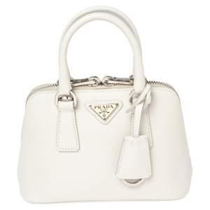 Prada White Saffiano Leather Mini Promenade Crossbody Bag
