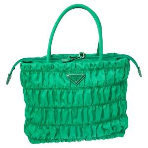 Prada Green Gaufre Nylon Zip Tote