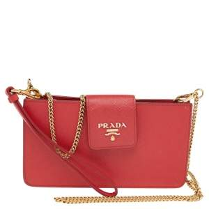 Prada Red Saffiano Leather Wallet on Chain